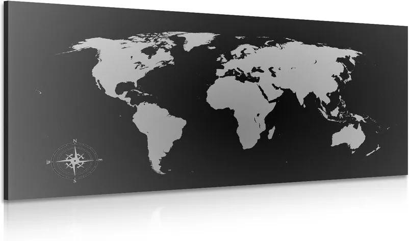 Tablou harta lumii în nuanțe gri