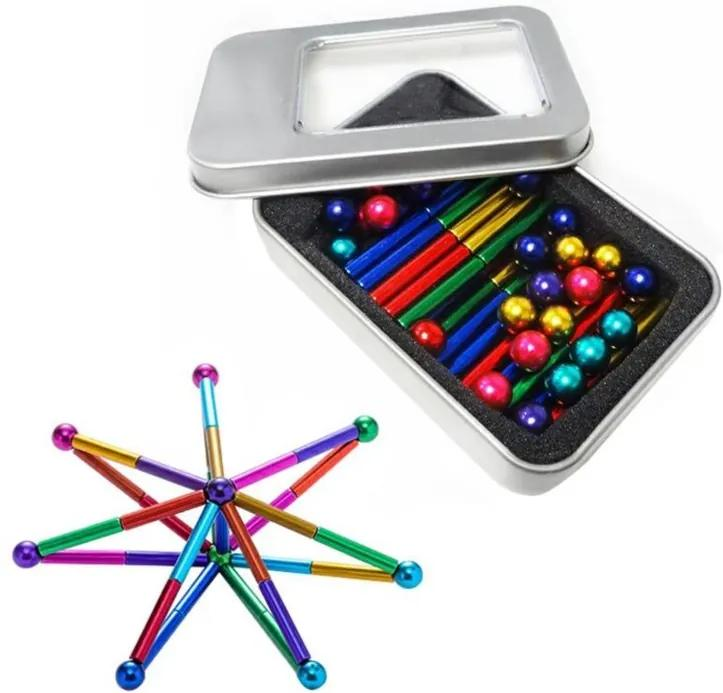 Set Puzzle Antistres cu Bile si Bete magnetice, 63 piese, multicolor