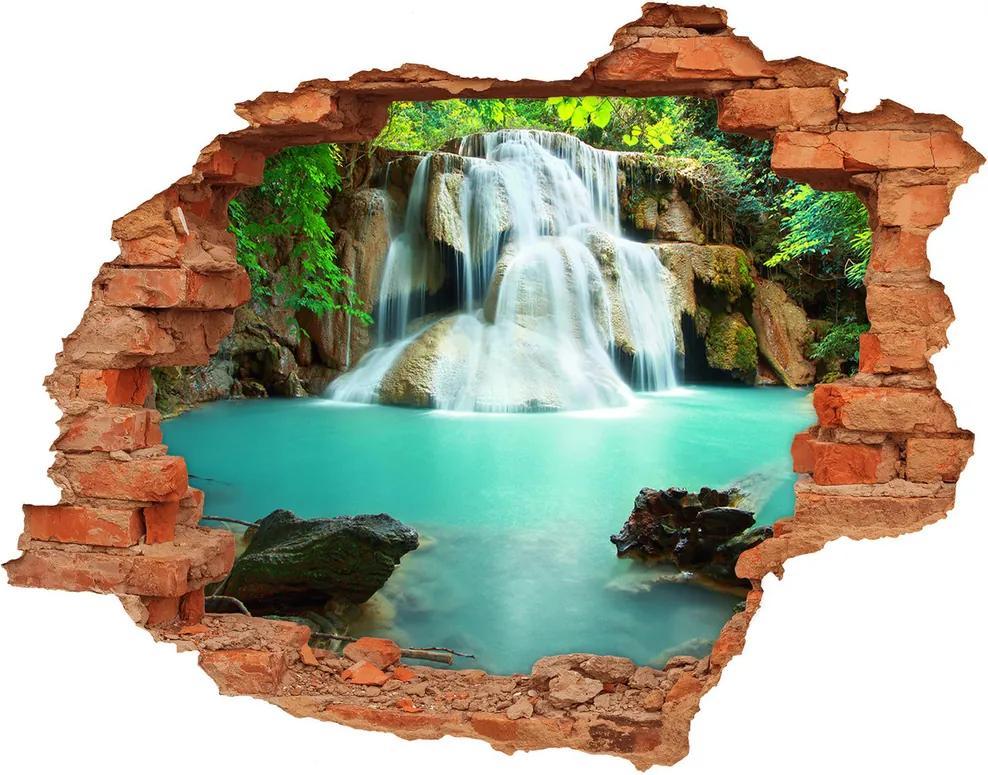 Autocolant de perete gaură 3D Caramida Cascade