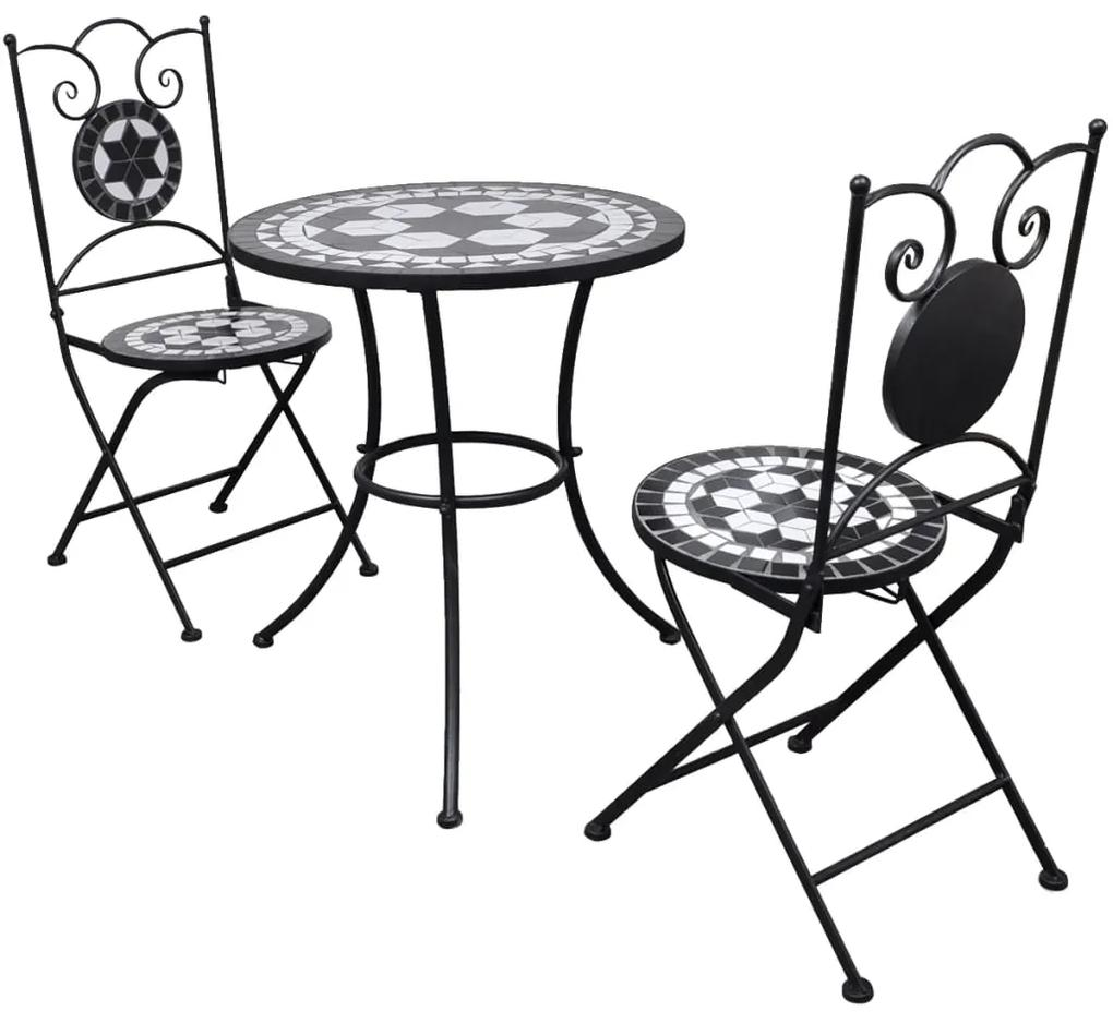 271772 vidaXL Set mobilier bistro, 3 piese, negru/alb, plăci ceramice