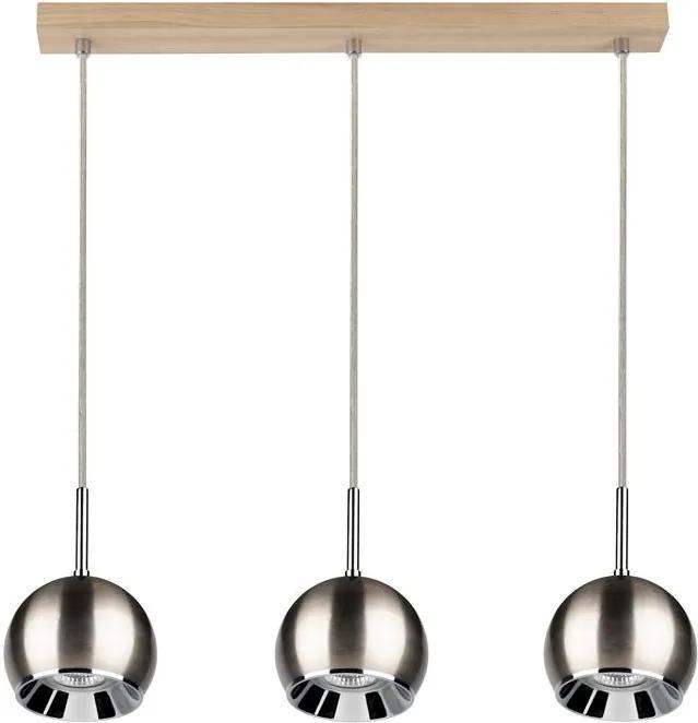 Lustra tip pendul BALL WOOD cu 3 becuri - Satin