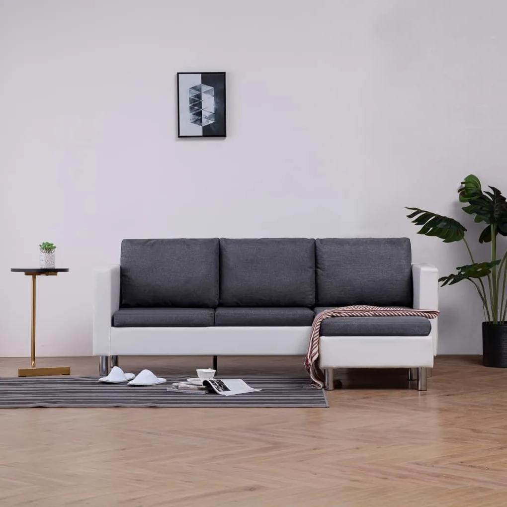 282203 vidaXL Canapea cu 3 locuri cu perne, alb, piele ecologică