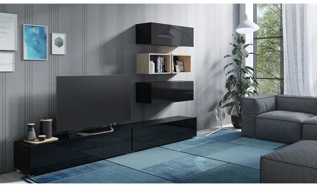 Expedo Mobilă sufragerie BRINICA NR 27, negru/negru luciu