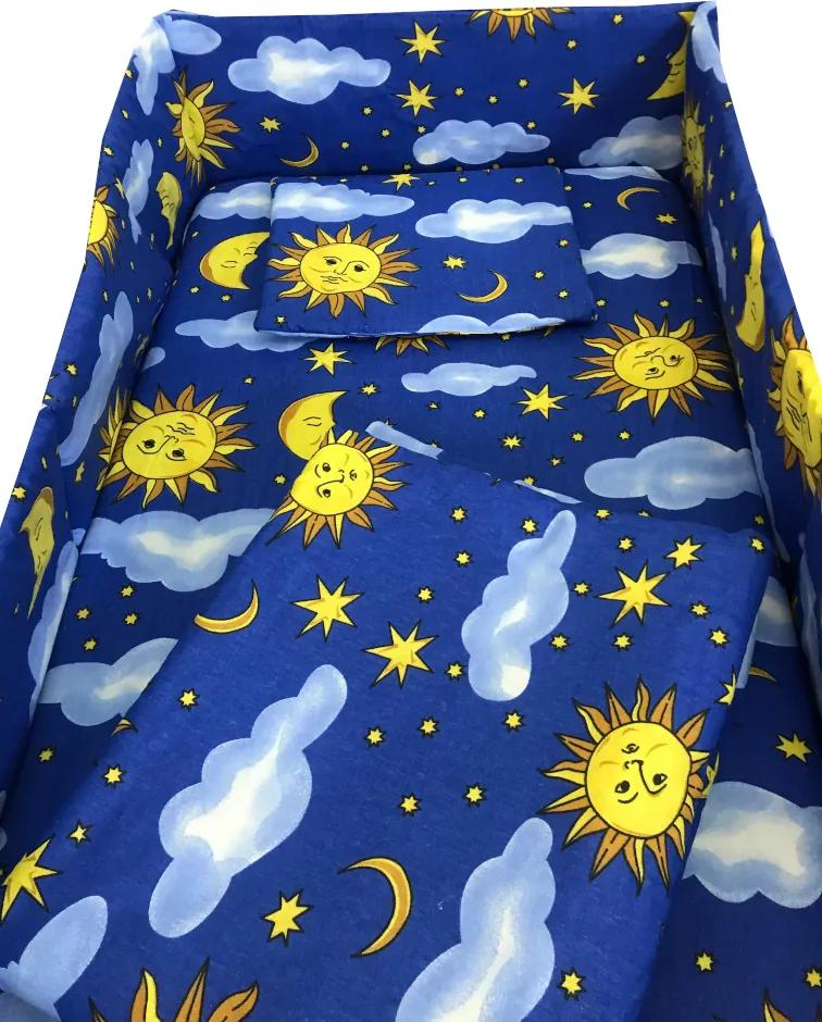 Lenjerie patut cu 5 piese Soarele si luna 120x60 cm