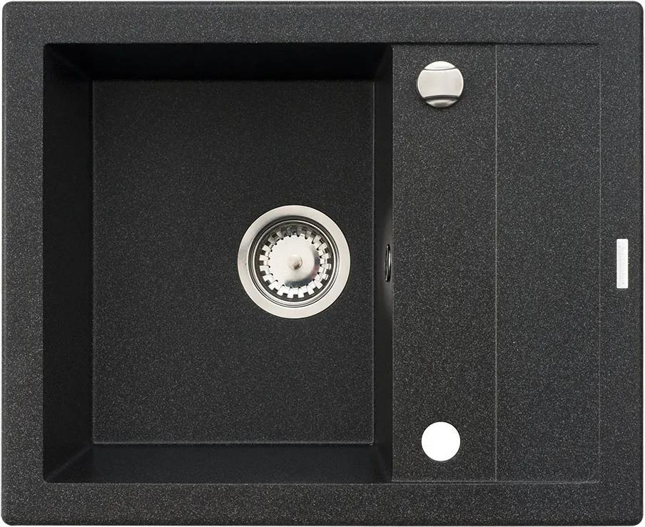 Chiuveta de bucatarie Pyramis Studio 1B 1D Negru, 59 cm, granit