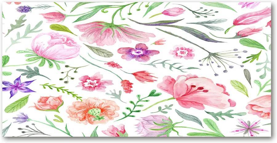 Pictura pe sticlă acrilică Model floral