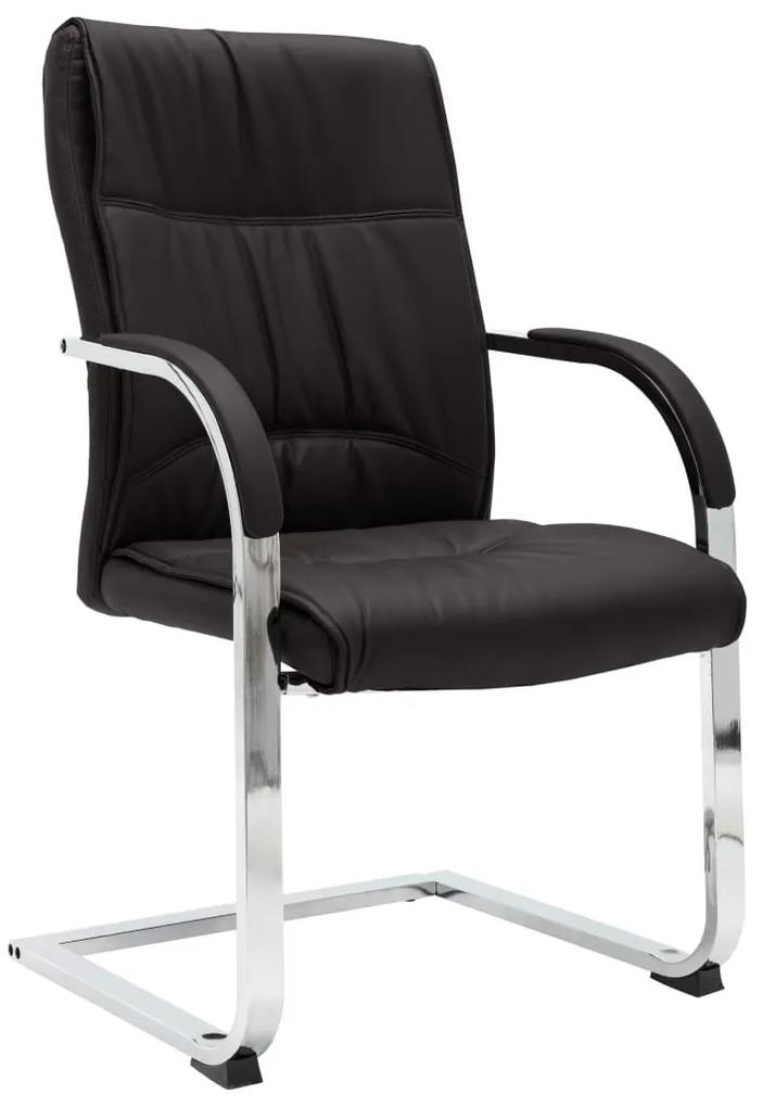 289341 vidaXL Scaun de birou tip consolă, negru, piele ecologică