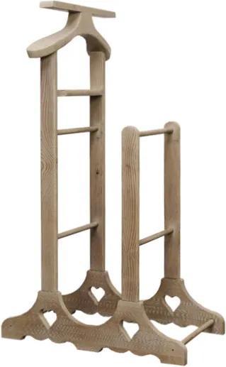 Valet dublu din lemn gri antichizat 68x50x120 cm