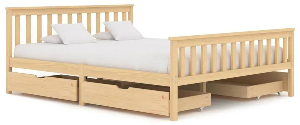 3060343 vidaXL Cadru de pat cu 4 sertare, 160 x 200 cm, lemn masiv de pin