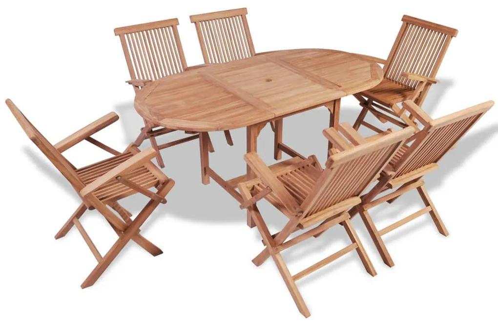 44685 vidaXL Set mobilier de exterior, 7 piese, lemn masiv de tec