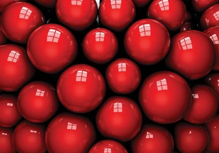 Abstract Modern Red Balls Fototapet, (254 x 184 cm)