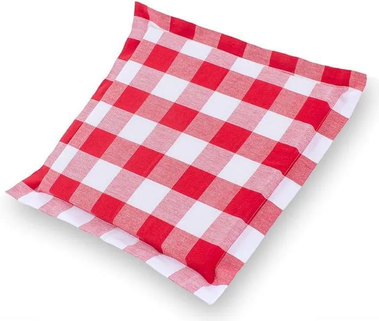 Pernă pentru scaune Indie cu tiv decorativ cub alb-roșu 38 x 38 cm