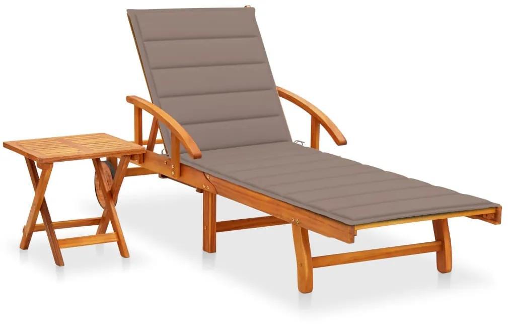 3061625 vidaXL Șezlong de grădină cu masă și pernă, lemn masiv de acacia