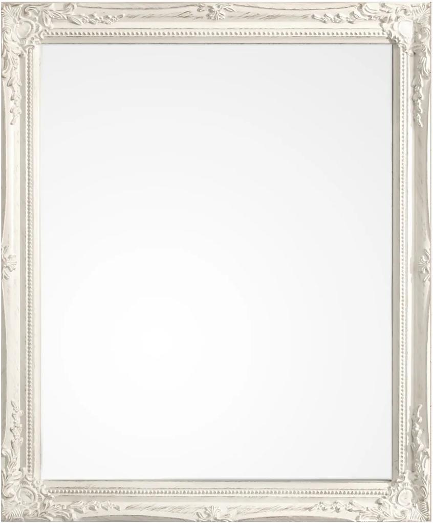 Oglinda decorativa perete cu rama lemn alb patinat Miro 46 cm x 3 cm x 56 h