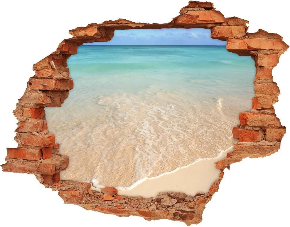 Fototapet un zid spart cu priveliște Starfish pe plajă