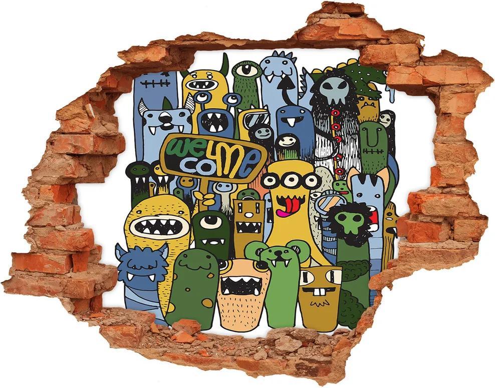 Fototapet 3D gaură în perete Monștri nebun