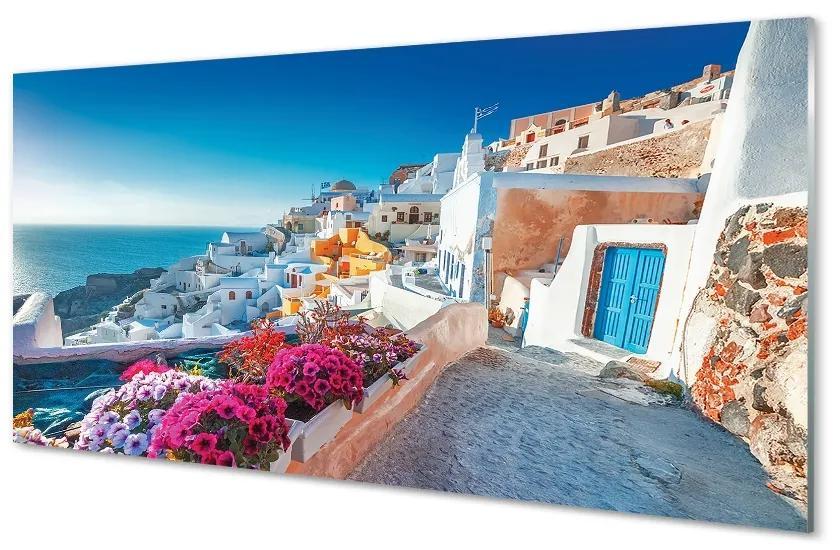 Tablouri pe sticlă Clădiri Grecia flori la mare