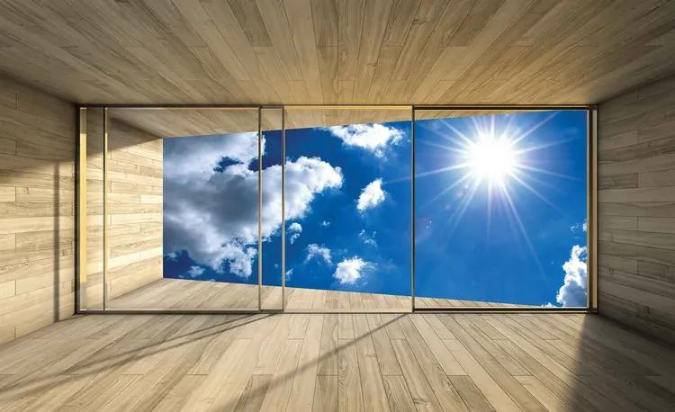Window Sky Clouds Sun Nature Fototapet, (368 x 254 cm)