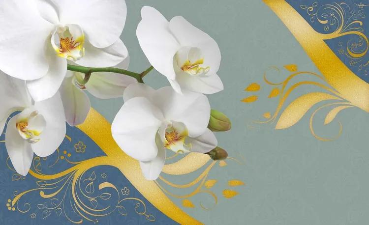 Pattern Flowers Orchids Abstract Fototapet, (208 x 146 cm)