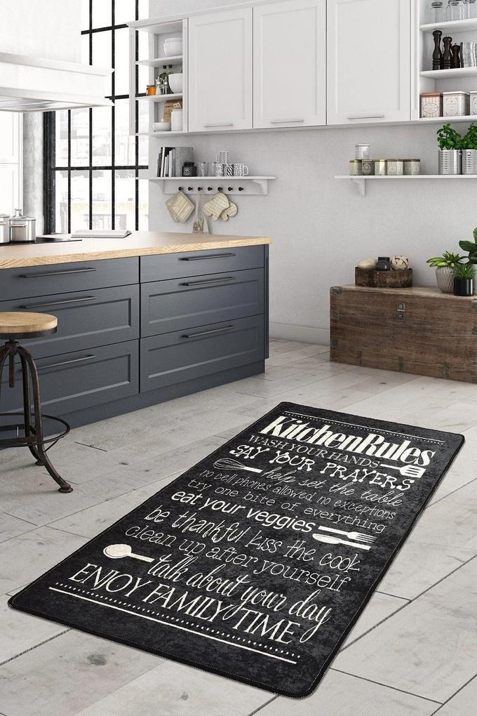 Covor pentru bucatarie Kitchen Motto Negru - 160x230 cm