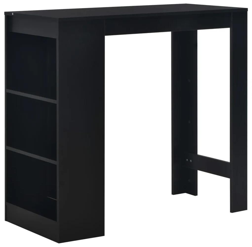 280212 vidaXL Masă de bar cu raft, negru, 110 x 50 x 103 cm