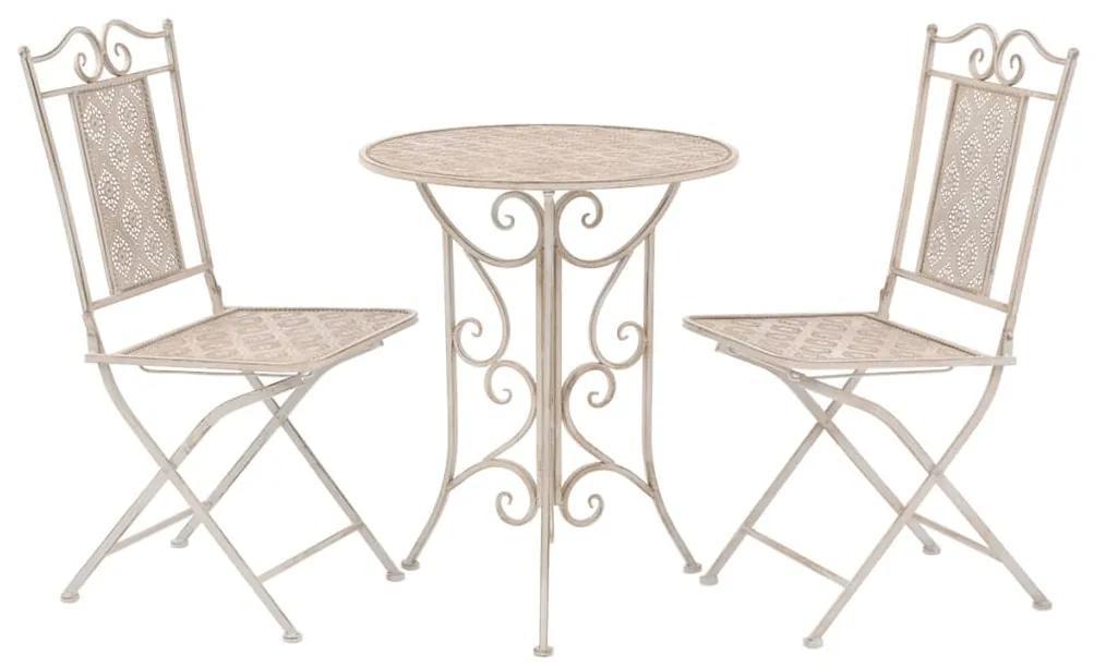 43149 vidaXL Set mobilier bistro, 3 piese, alb, oțel