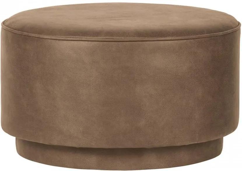 Taburet rotund din piele maro 60 cm Coffee Cognac
