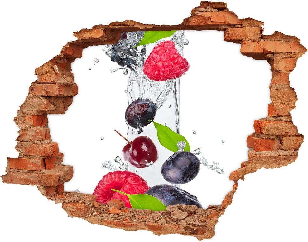 Autocolant de perete gaură 3D Fructele si apa