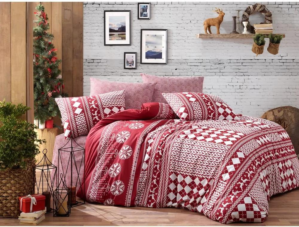 Lenjerie cu cearceaf pentru pat dublu, din bumbac ranforsat Nazenin Home Deer Claret Red, 200 x 220 cm