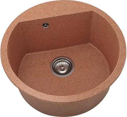 Chiuveta bucatarie rotunda FAT Avangard 223 din granixit, Ø 51 cm, Darnk selmon