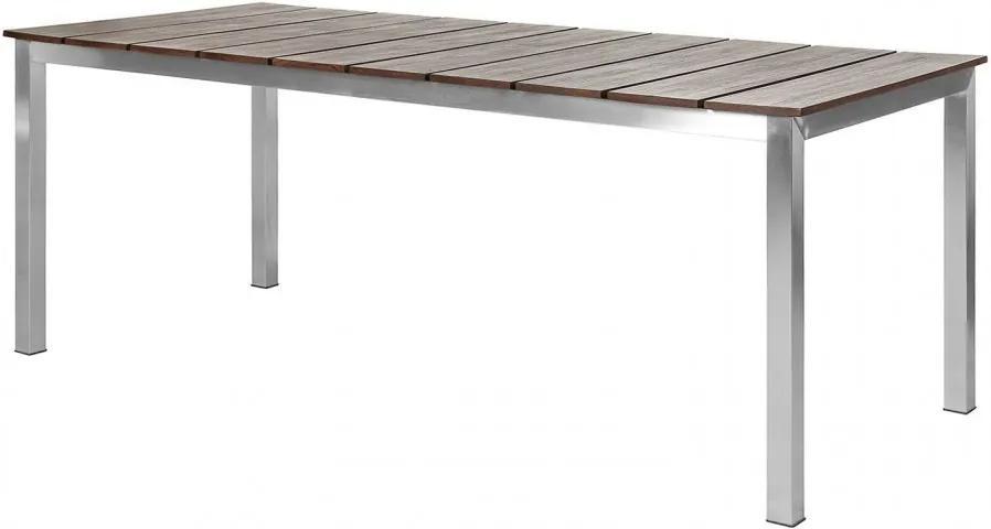 Masa de gradina Teakline Premium I lemn masiv/otel inoxidabil, maro, 200 x 75 x 90 cm