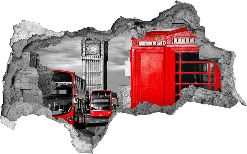 Autocolant gaură 3D Autobuze roșii