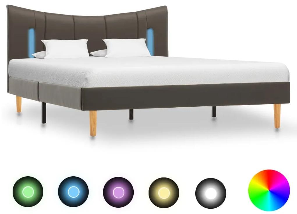 288545 vidaXL Cadru de pat cu LED, antracit, 120 x 200 cm, piele ecologică