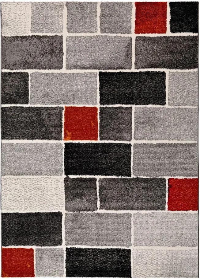 Covor Universal Lucy Dice, 60 x 120 cm, gri-roșu