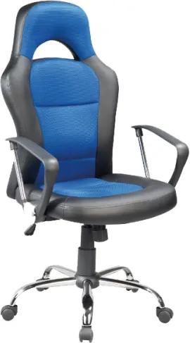 Scaun de birou directorial, tapitat cu piele ecologica si stofa Q-033 Blue / Black, l63xA50xH116-126 cm
