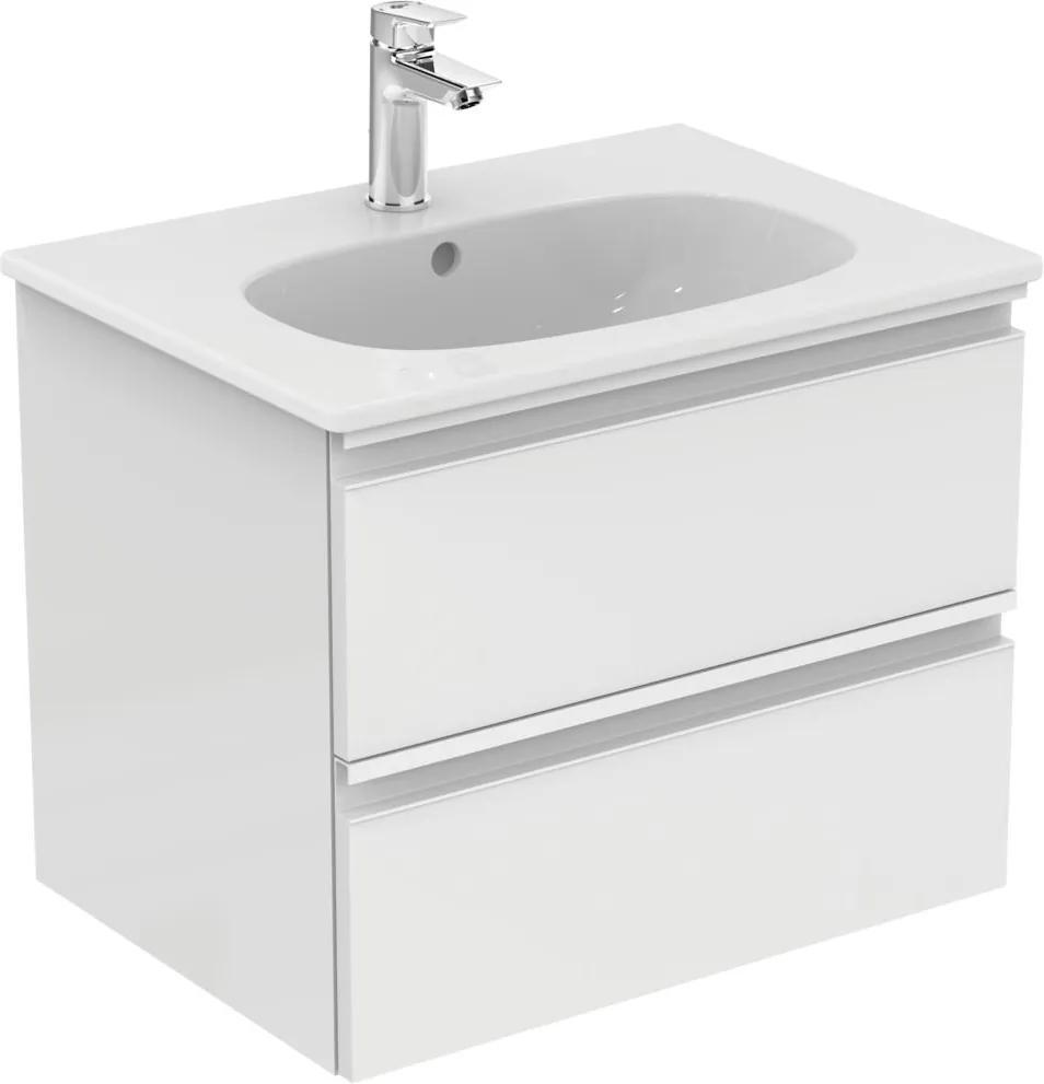 Set mobilier Ideal Standard Tesi 60cm cu lavoar si dulap baza cu 2 sertare, alb lucios