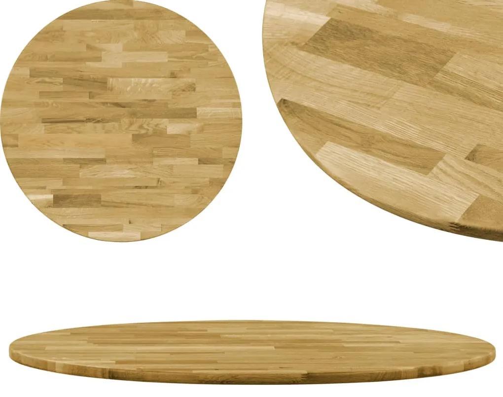 245981 vidaXL Blat de masă, lemn masiv de stejar, rotund, 23 mm, 400 mm