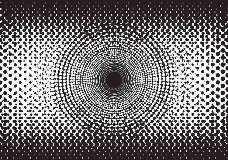 Abstract Black White Dots Fototapet, (152.5 x 104 cm)