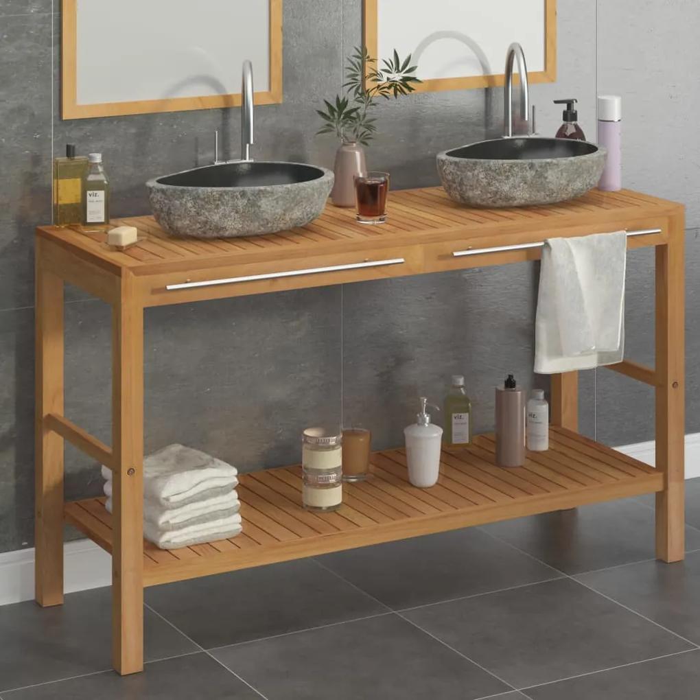 246497 vidaXL Dulap de toaletă, lemn masiv de tec, chiuvete din piatră de râu