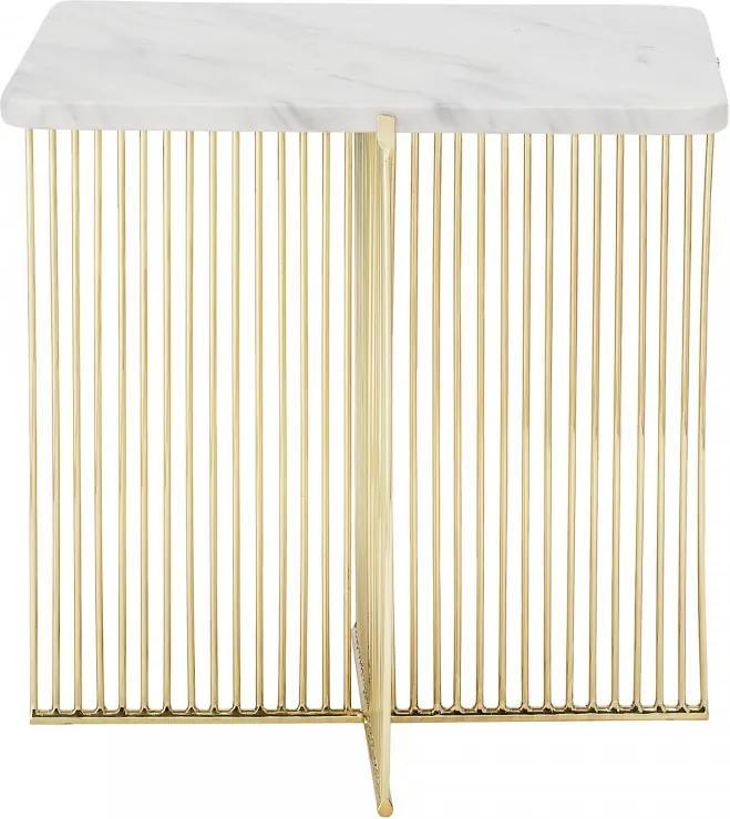 Masa alba patrata din marmura cu picioare de fier 45x47 cm Bloomingville