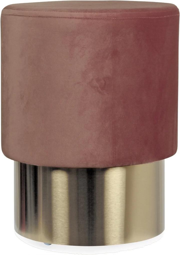 Puf SERGE Rose din Catifea si Metal 35cm OPJET PARIS - Catifea Rose Diametru (35cm) x Inaltime (44cm)