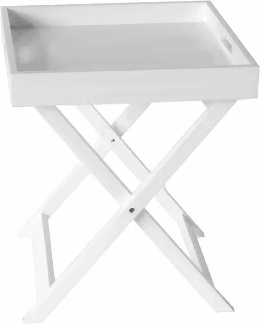 Masă Ameeyah cu tavă detașabilă, alb, 45cm H x 40cm W x 40cm D
