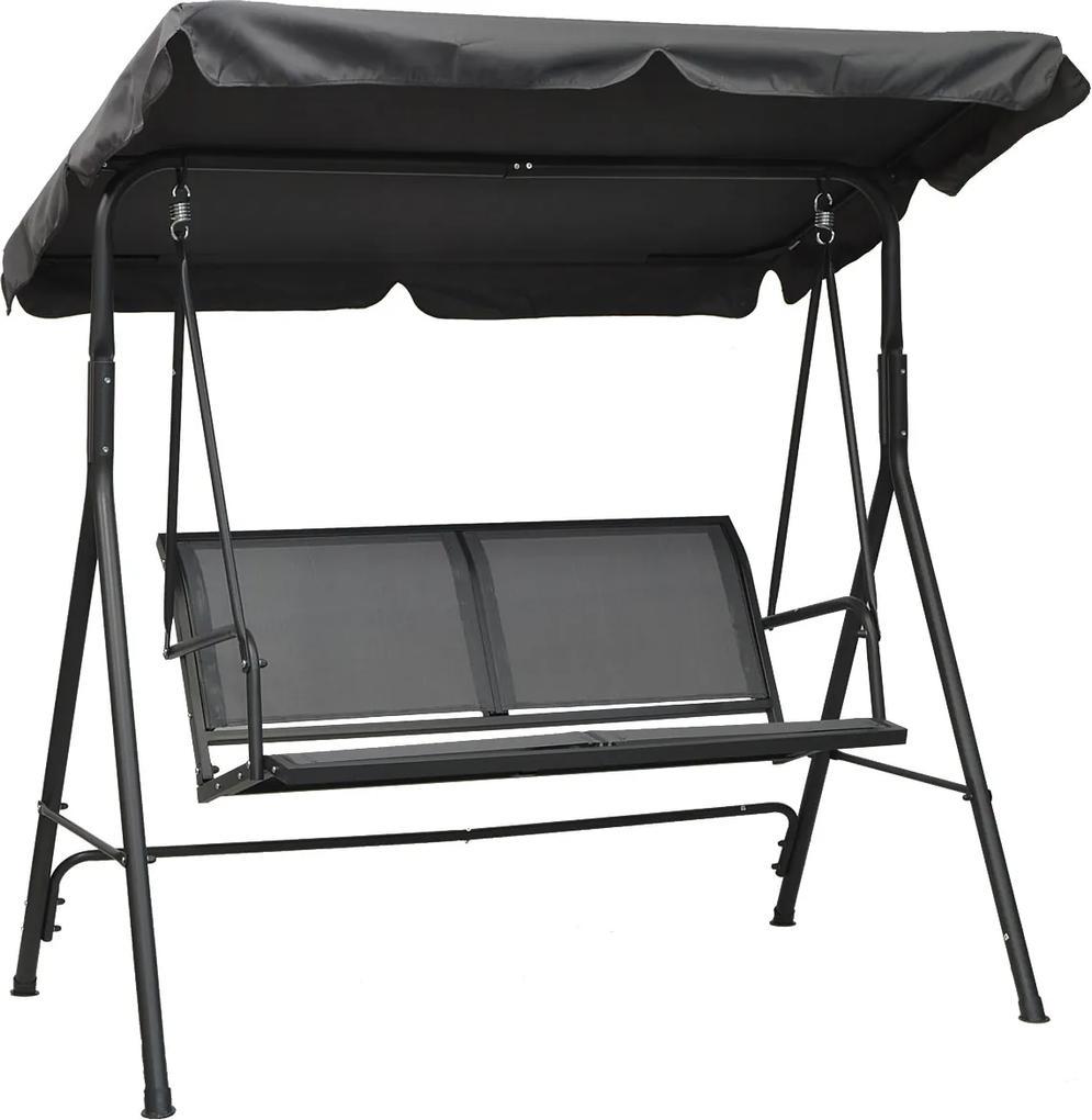 Leagan balansoar cu umbrela reglabila, 2 locuri, pentru terasa si gradina, culoare gri