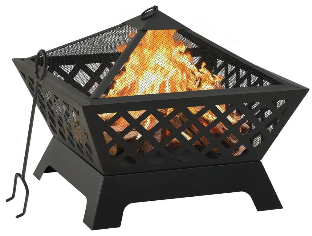 311894 vidaXL Vatră de foc cu vătrai, 64 cm, oțel, XXL
