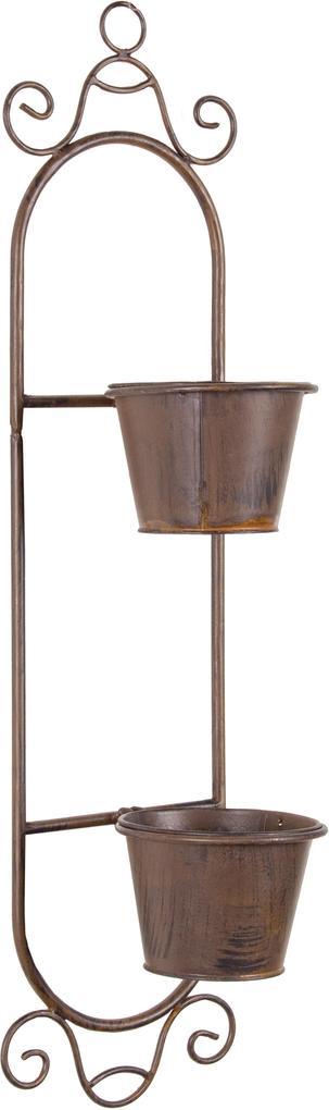 Suport fier forjat suspendabil 2 ghivece maro 17 cm x 17 cm x 68 cm inaltime