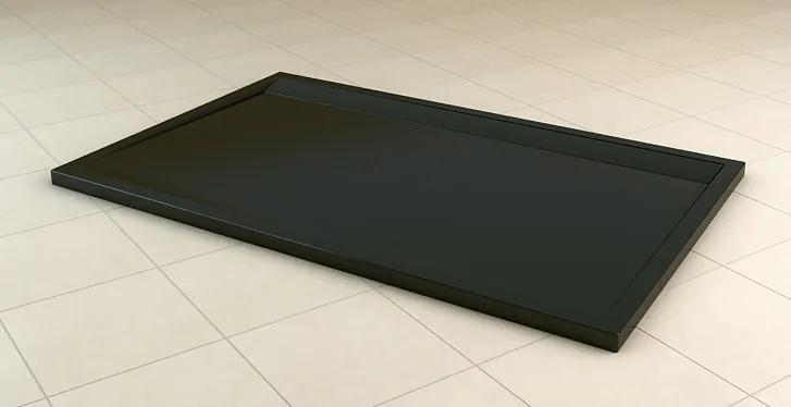 Cadita de dus dreptunghiulara SanSwiss ILA WIA, 90x150cm slim, marmura sintetica, negru