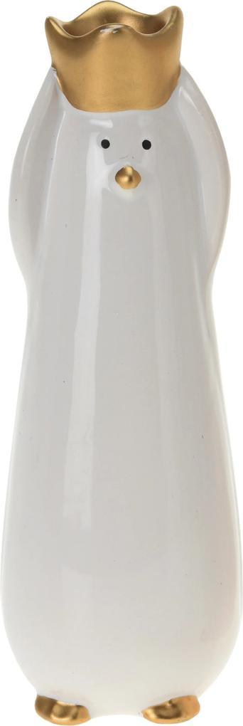 Figurina pinguin, alb, 18 cm