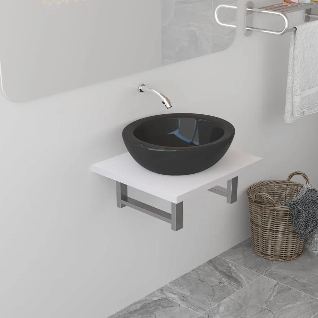 283800 vidaXL Mobilier de baie, alb, 40 x 40 x 16,3 cm