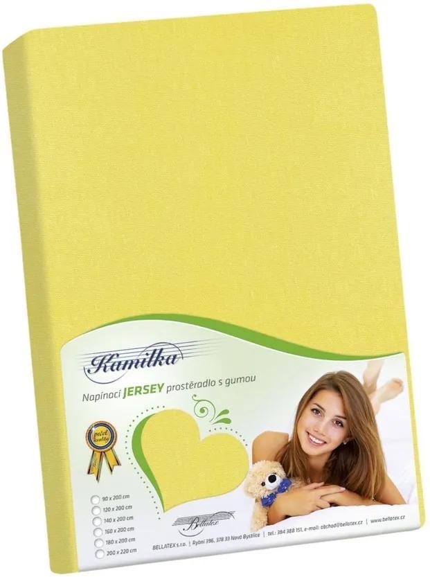 Cearşaf Jersey Kamilka, galben, 100 x 200 cm, 100 x 200 cm