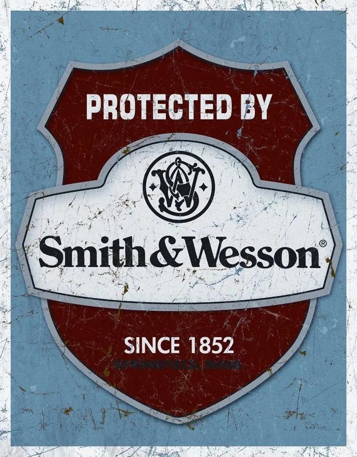 Placă metalică - Protected by Smith & Wesson